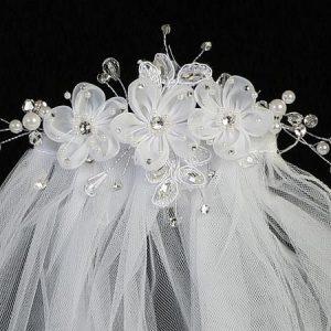 First Communion Comb Veil Organza Flowers and Rhinestones
