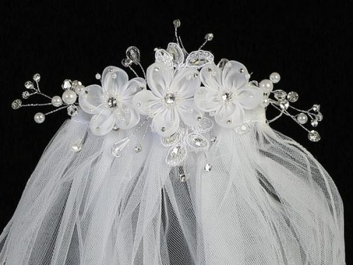 First Communion Comb Veil Organza Flowers and Rhinestones
