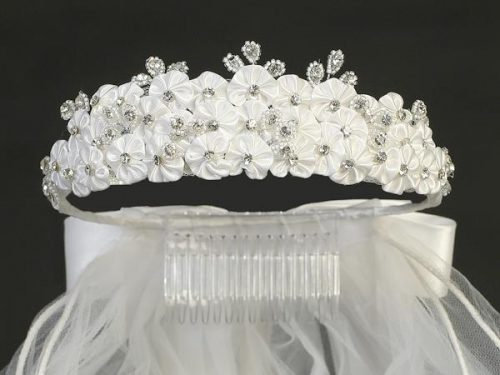 Crown First Communion Veil Layered Flowers and Rhinestones