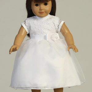 First Communion Doll Dress with Embroidered Bodice