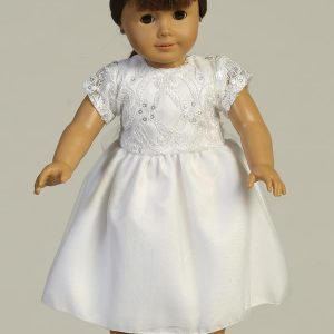 First Communion Doll Dress with Embroidered Tulle and Sequins