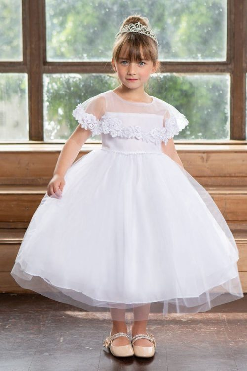 First Communion Dress with Attached Cape
