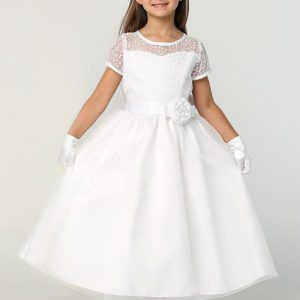 First Communion Dress with Embroidered Bodice