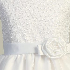 First Communion Dress with Embroidered Bodice Close
