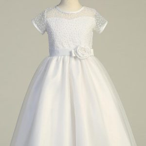 Plus Size First Communion Dress with Embroidered Bodice