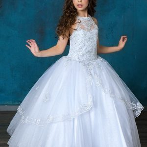 First Communion Dress with High Halter bodice