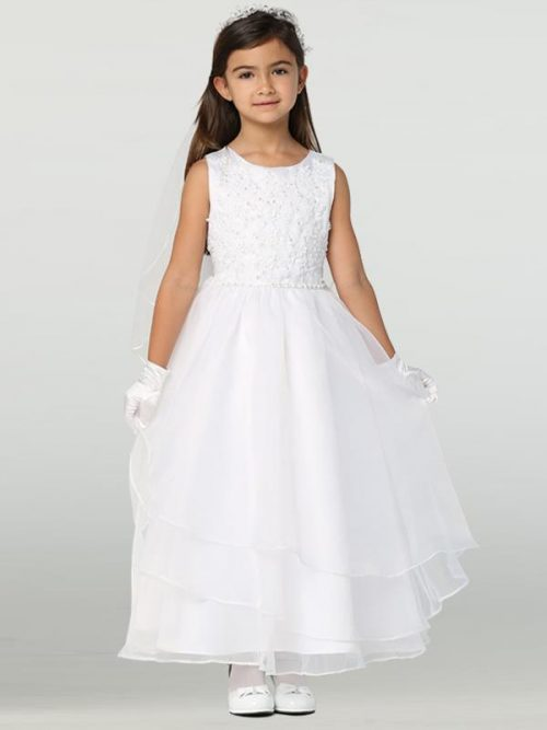 First Communion Dress with Embroidered Applique & Organza