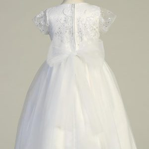 First Communion Dress with Embroidered Tulle Sequins