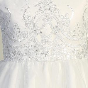 First Communion Dress with Embroidered Tulle and Sequins Bodice