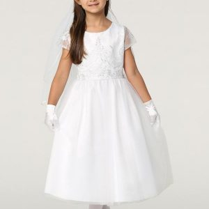 First Communion Dress with Tulle and Sequins