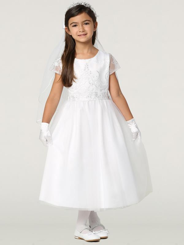 First Communion Dress with Embroidered Tulle and Sequins