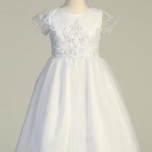 Short Sleeves First Communion Dress with Embroidered Tulle and Sequins
