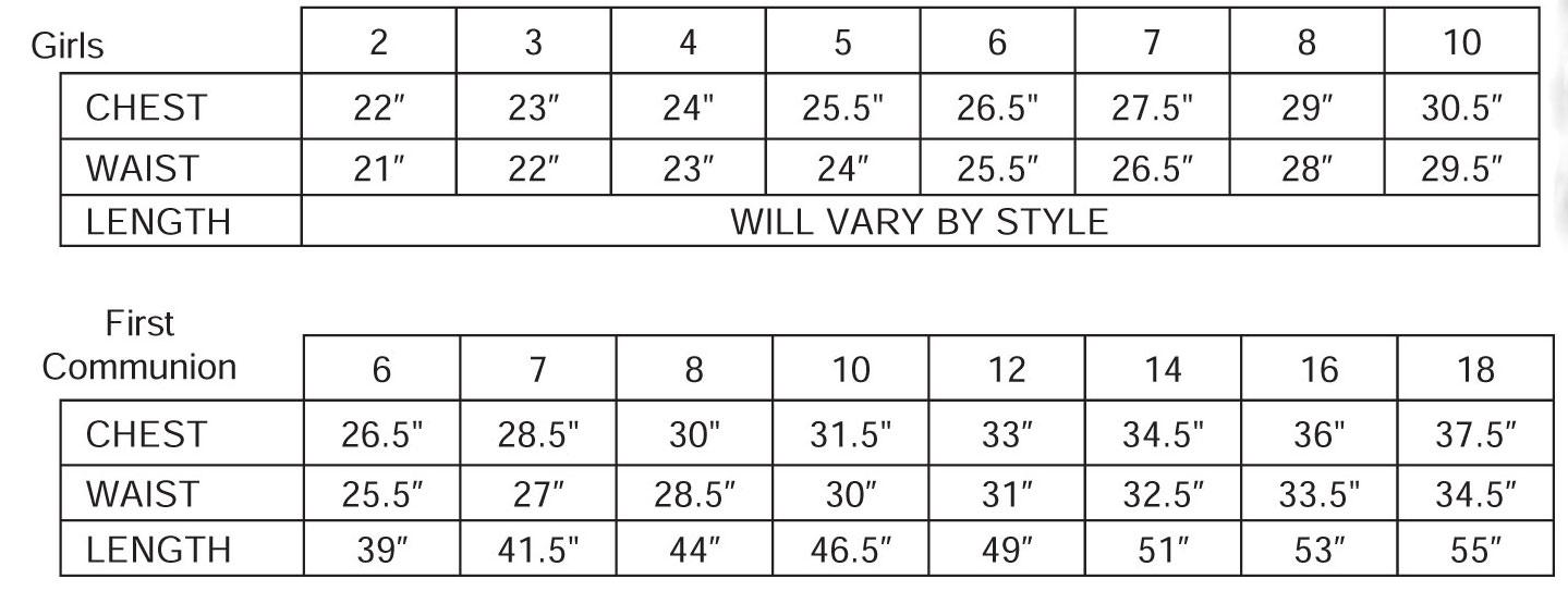Angel Garment First Communion Dresses Size Chart