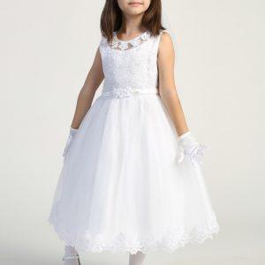 First Communion Dresses with Flower Neckline