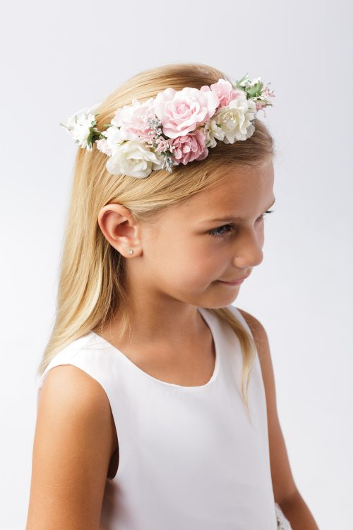First Communion Floral Crown Wreath Headpiece with Large Flowers with satin ribbons