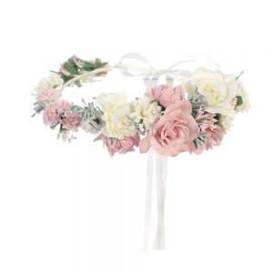 First Communion Floral Crown Wreath Headpiece with Large Flowers and Ribbons