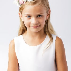 First Communion Floral Crown Wreath Headpiece with Large Multi Color Flowers