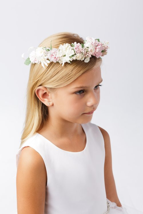 First Communion Floral Crown Wreath Headpiece with Pastel Flowers