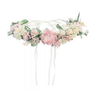First Communion Floral Crown Wreath Headpiece with Pastel Flowers and Ribbons