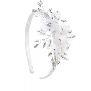White First Communion Headband with Pearls and Crystal Leaves