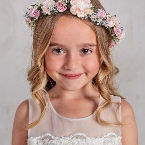 First Communion Multi Color Floral Crown Headpiece