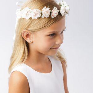 First Communion Pale Blush Floral Crown Headpiece