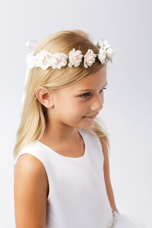 First Communion Pale Blush Floral Crown Headpiece