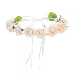 First Communion Pale Blush Floral Crown Headpiece with Ribbons