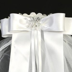 First Communion Veil Headpiece Beads Satin Bow