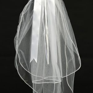 First Communion Veil Headpiece Beads and Rhinestones and Bow