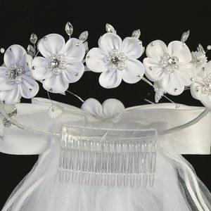 First Communion Veil Satin Flowers Pearls and Rhinestones