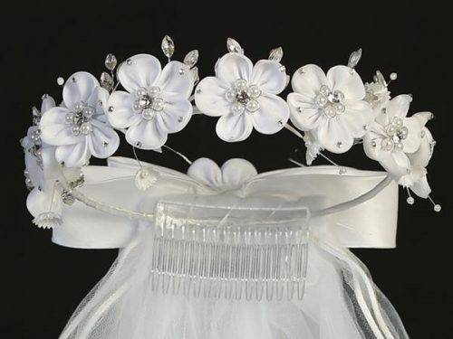 First Communion Veil Satin Flowers Pearls and Rhinestones