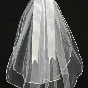 First Communion Veil and Headpiece Large Flowers Bow
