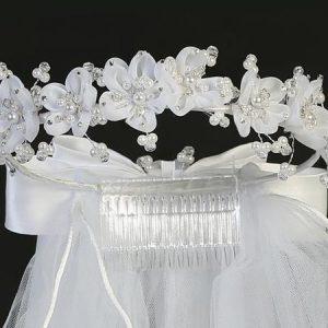 First Communion Veil Organza Flowers Pearls and Rhinestones