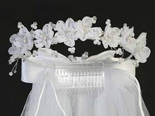 First Communion Veil Organza Flowers Pearls and Rhinestones