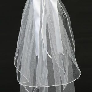 First Communion Veil and Headpiece Large Organza Flowers Bow