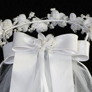 First Communion Veil and Headpiece Large Organza Flowers Bow on Back