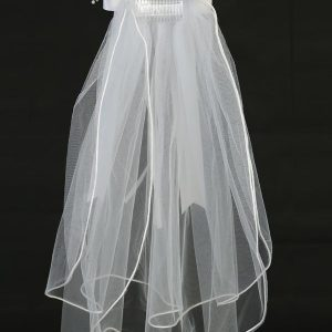 First Communion Veil and Headpiece Large Organza Flowers Pearls