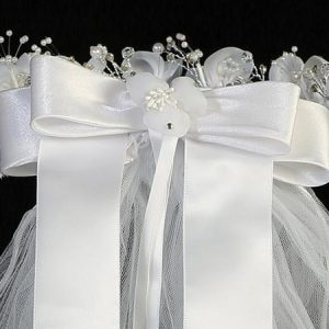 First Communion Veil and Headpiece Sheer Flowers Bow
