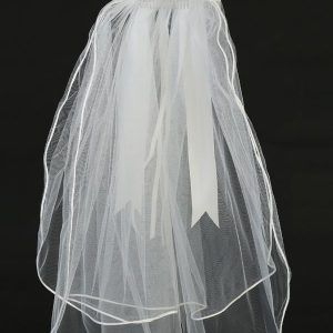 First Communion Veil and Headpiece Sheer Flowers Pearls