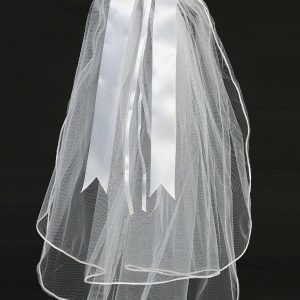 First Communion Veil and Headpiece Sheer Flowers Satin Bow