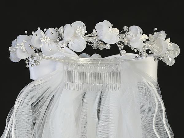 First Communion Veil Organza Rosebud Flowers Pearls and Rhinestones