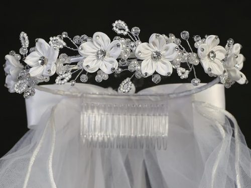 First Communion Veil Satin Flowers and Rhinestones