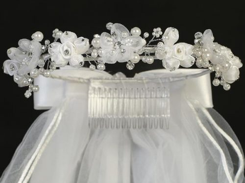 First Communion Veil Organza and Satin Flowers