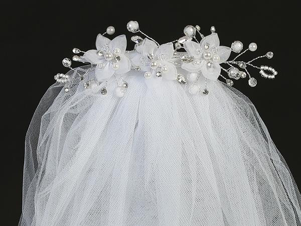 First Communion Comb Veil Organza Flowers Pearls Crystals