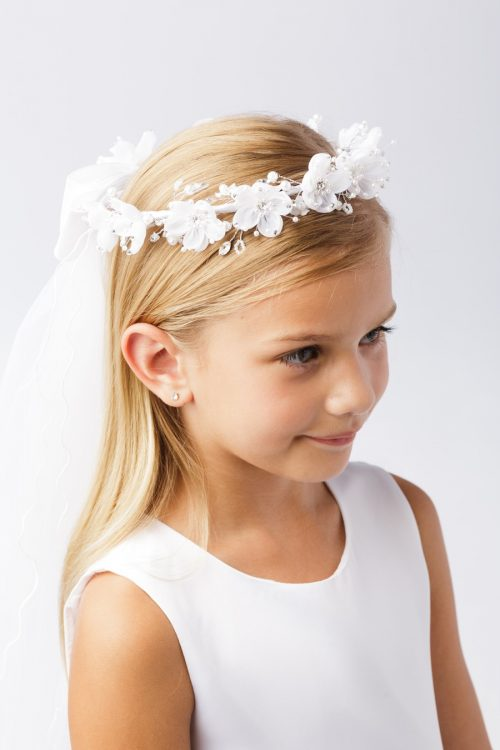 Wreath First Communion Veil Organza Flowers with Crystal Accents and Pearls
