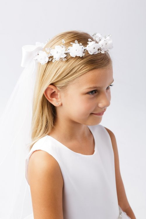 Wreath First Communion Veil with Flower Rhinestones
