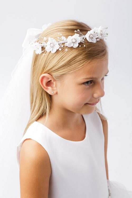 Wreath First Communion Veil with Flower Large Pearl Center