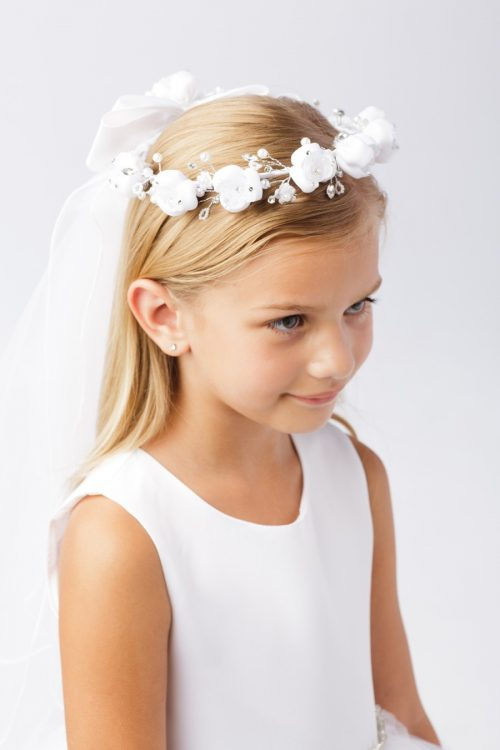 Wreath First Communion Veil with Satin Flowers