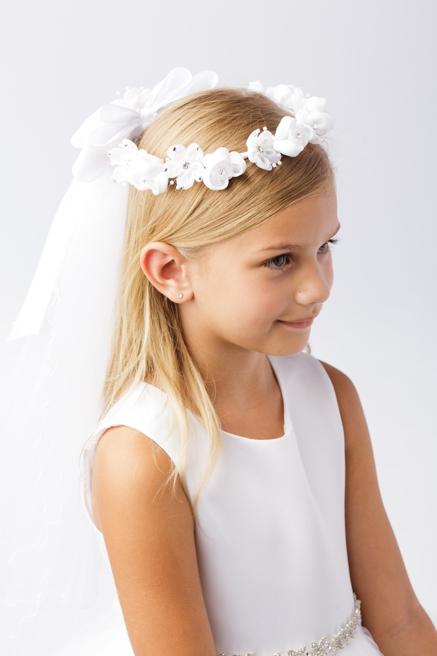 Wreath First Communion Veil with Satin and Organza Flowers